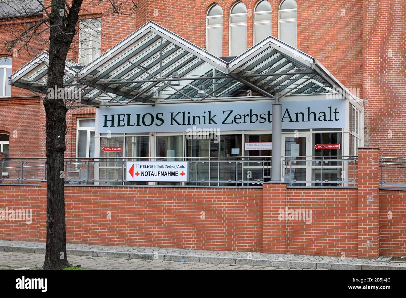 Zerbst, Germany. 08th Mar, 2020. The HELIOS Klinik Zerbst-Anhalt. Credit: Peter Gercke/dpa-Zentralbild/dpa/Alamy Live News Stock Photo
