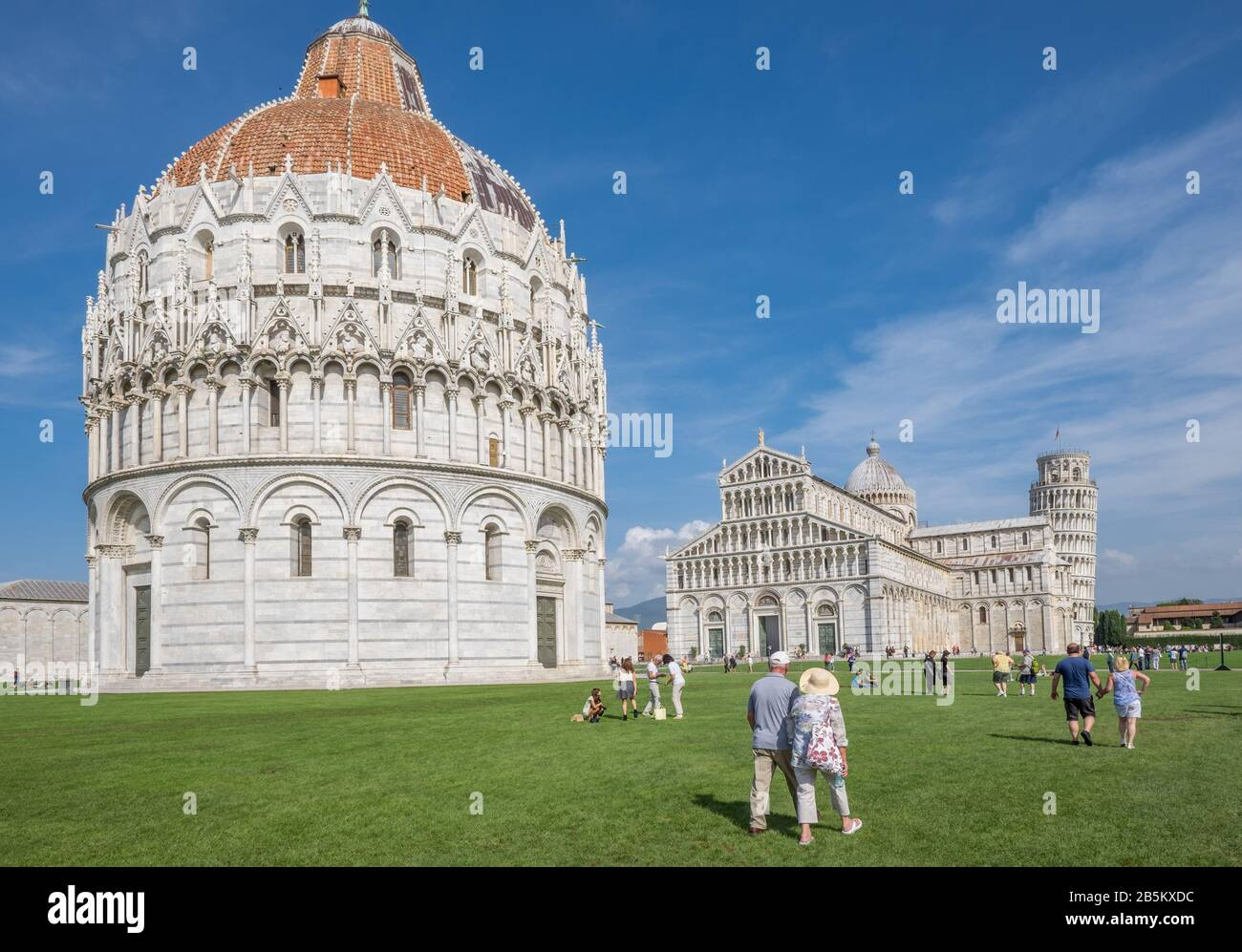 The world famous Piazza dei Miracoli in Pisa, Tuscany.  The construction of the cathedral was begun in 1064. Stock Photo