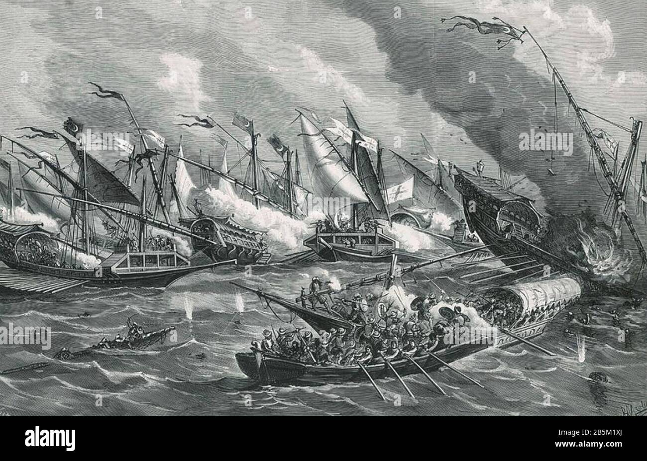 BATTLE OF LEPANTO 7 October 1571 in which a coalition of European Catholic states defeated the Ottoman fleet Stock Photo