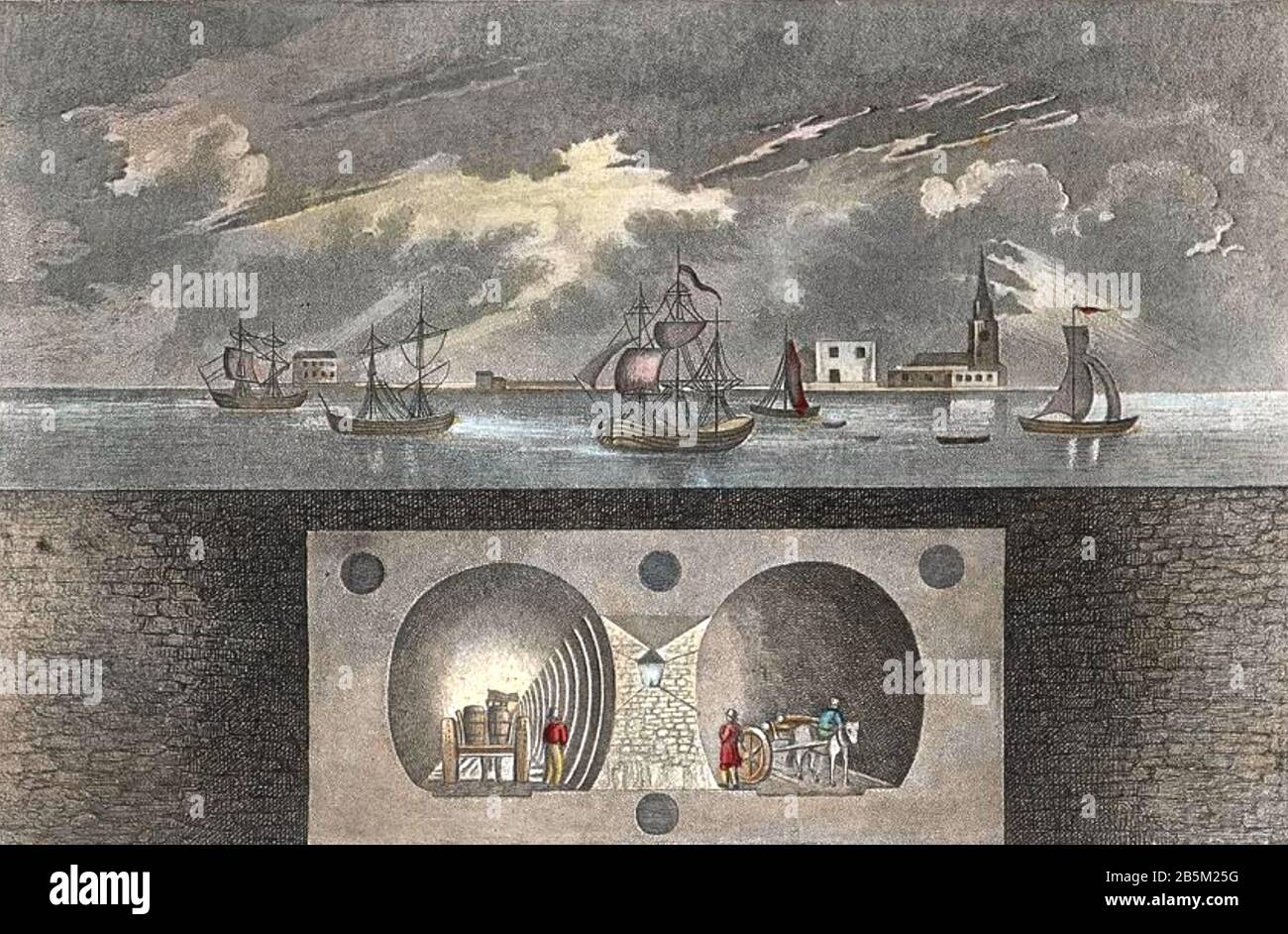 THAMES TUNNEL Cross section of the tunnel connecting Rotherhithe and Wapping built between 1825 and 1843 by Marc Isambard Brunel and his son Isambard Kingdom Brunel. Stock Photo