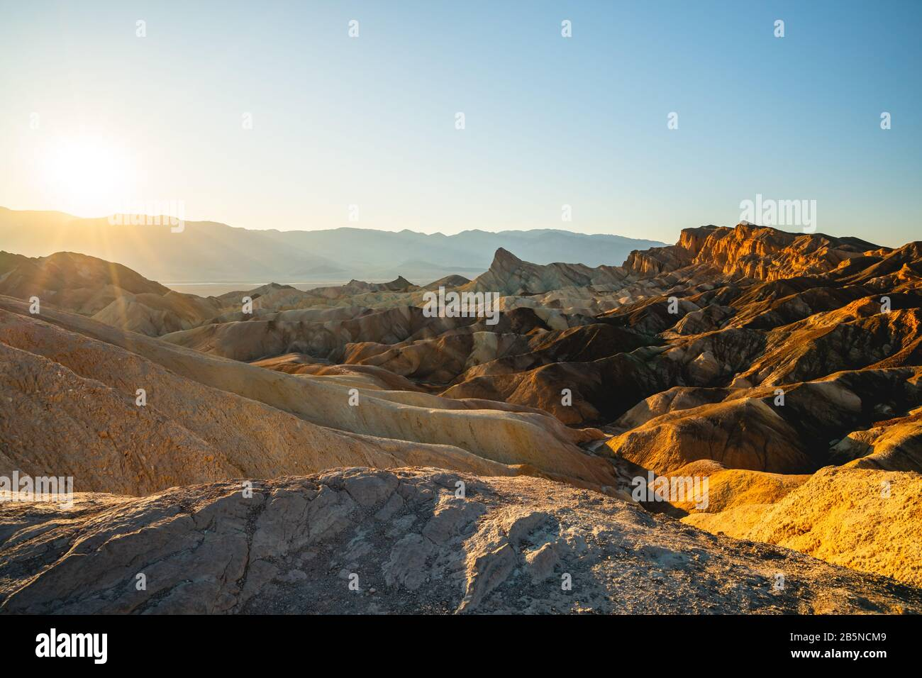 Red Canyon, Manly Beacon, sunset. Zabriskie Point Loop in Death Valley National Park, California Stock Photo