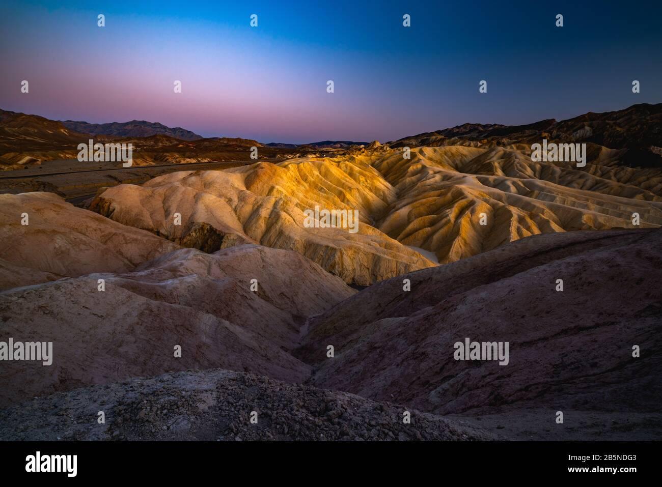 The Badlands, Zabriskie Point Loop in Death Valley National Park, California Stock Photo