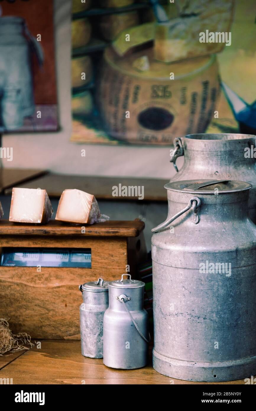 Three milk churns stock photo Stock Photo
