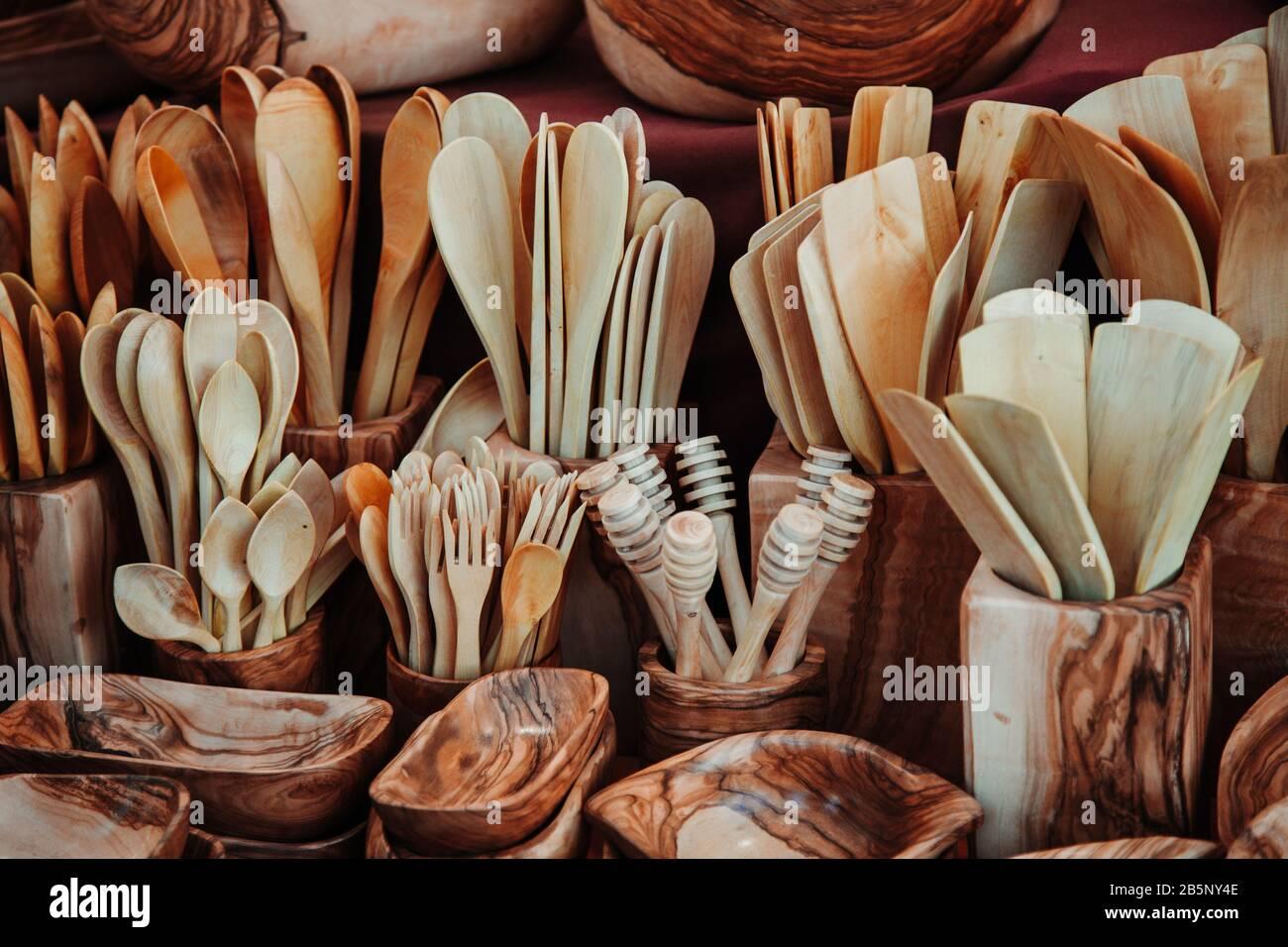 Various wooden kitchen utensils stock photo Stock Photo