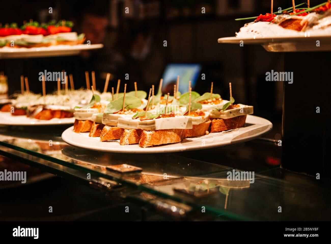 Typical spanish Tapa, Pincho or Pintxo stock photo Stock Photo