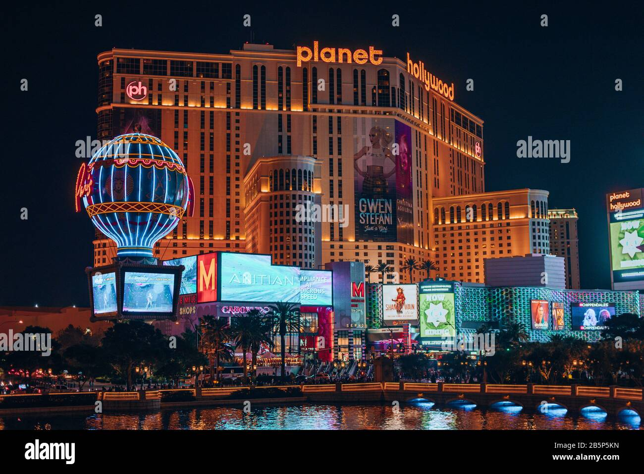 Las Vegas, USA - January 2019 Illuminated view Bellagio Hotel fountains and Las Vegas strip Stock Photo