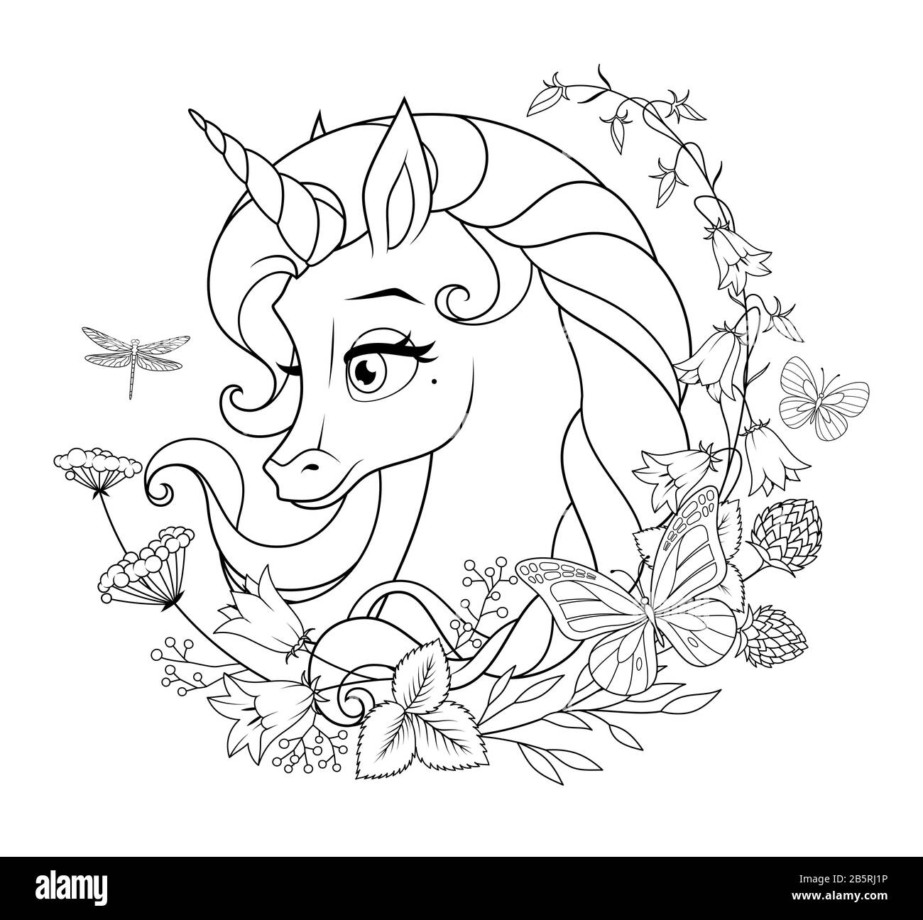 Cute Magic Unicorn Surrounded With Flowers And Butterflies Coloring Page Vector Illustration Stock Vector Image Art Alamy