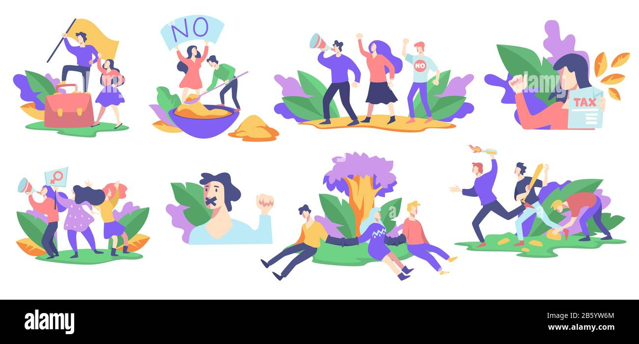 Human rights protection, protests or strikes, isolated icons Stock Vector