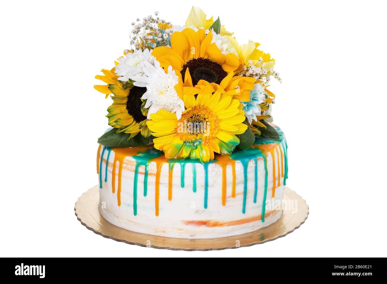 Miraculous Sunny Cheerful Birthday Cake From Sunflowers On A White Funny Birthday Cards Online Necthendildamsfinfo