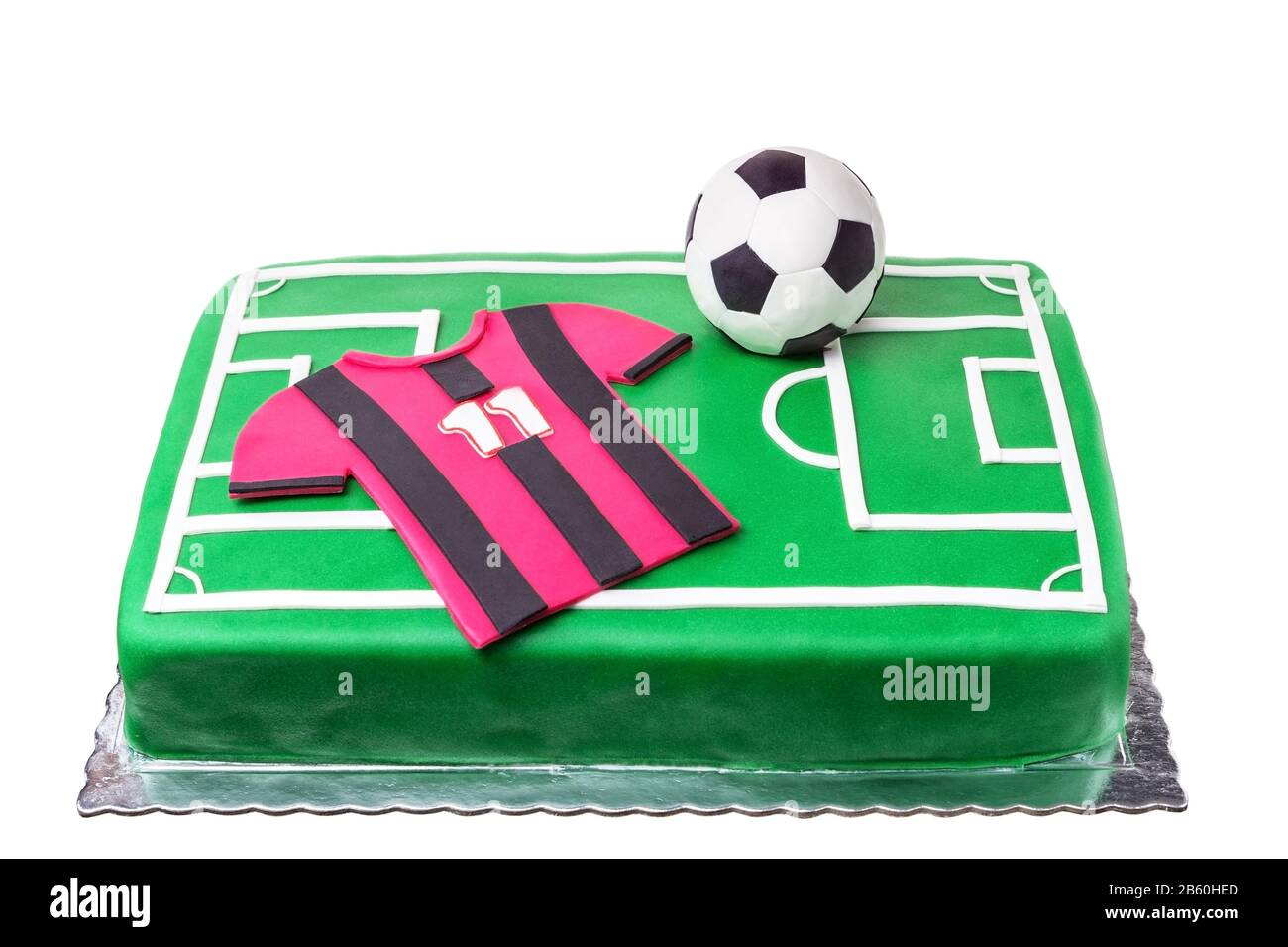 Fabulous Birthday Cake For A Football Player A Football Field And A T Personalised Birthday Cards Paralily Jamesorg