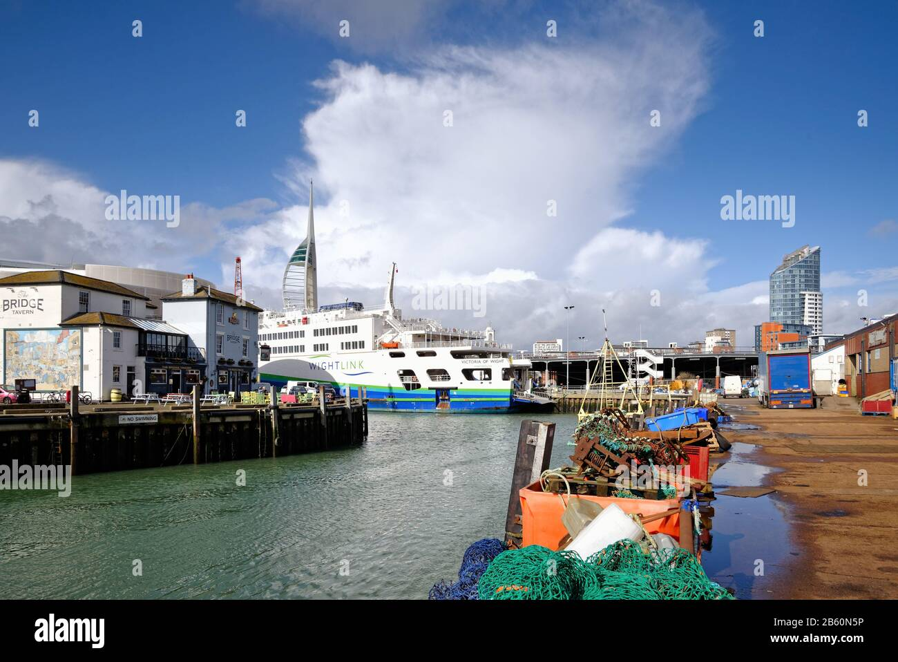 The historic Camber harbour in old Portsmouth with two Wightlink car ferries at their moorings, Portsmouth Hampshire England UK Stock Photo