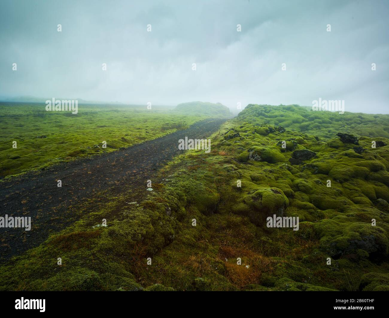 Gravel road leading into a misty valley, rocky mossy green landscape volanic dirt track Stock Photo