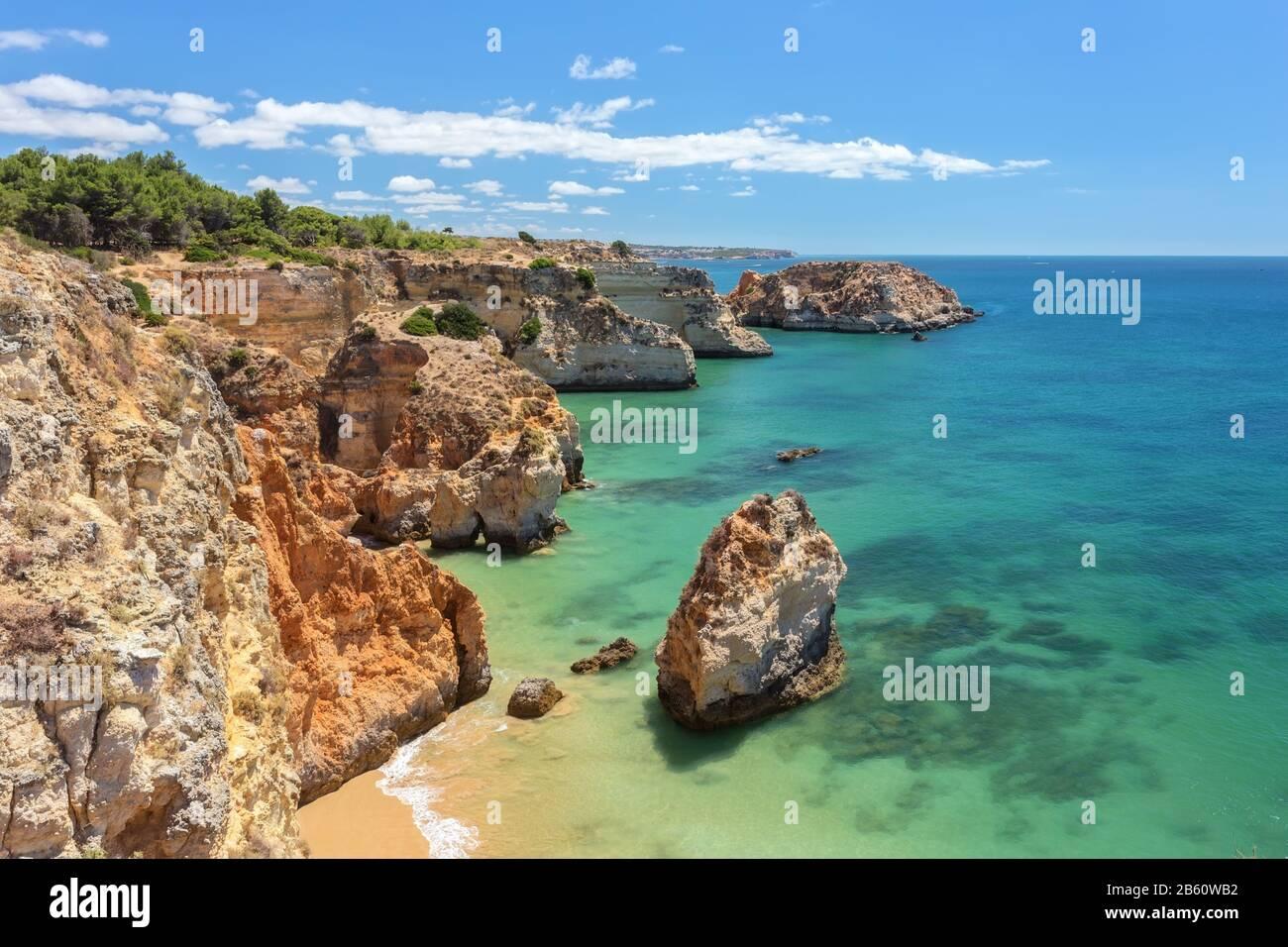 Beautiful sea summer beach in Portugal. Portimao Algarve Stock Photo
