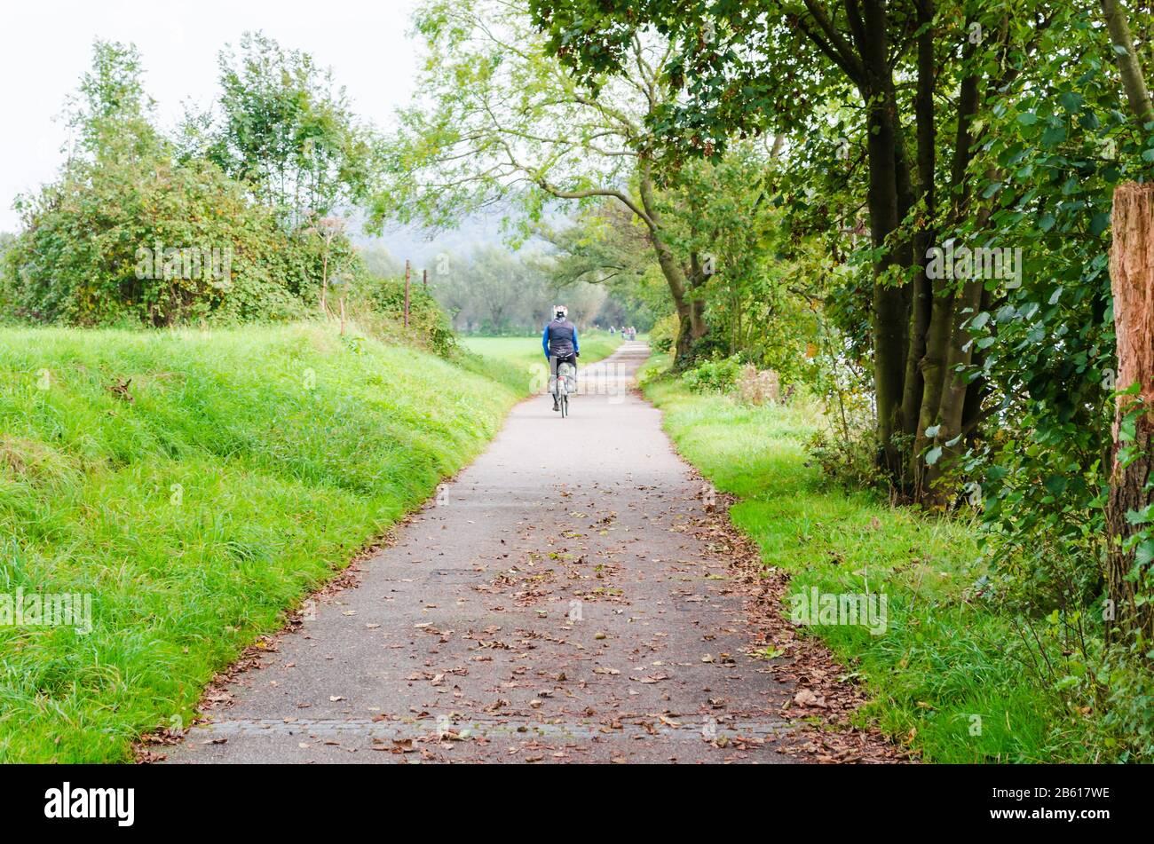 Essen, Germany - September 30, 2014: group of older men on the bike on the boardwalk of the river Ruhr near Essen Werden towards Kettwig. Stock Photo