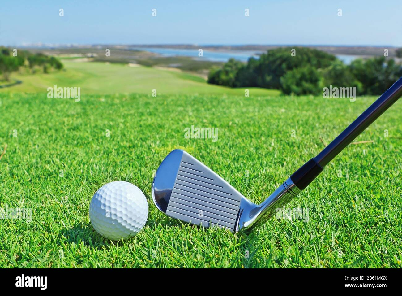 Golf Accessories On A Background Of A Green Golf Course Stock Photo Alamy