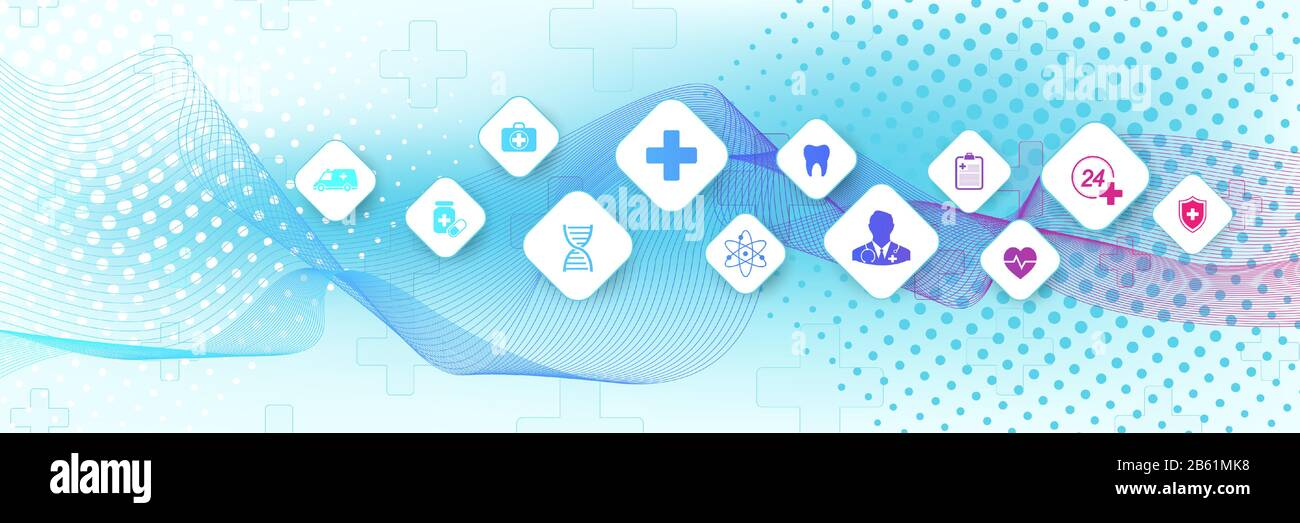 Abstract Medical And Science Healthcare Blue Banner Design Template Health Care Medicine Concept Medical Innovation Pharmaceutical Tech Banner Wave Stock Vector Image Art Alamy
