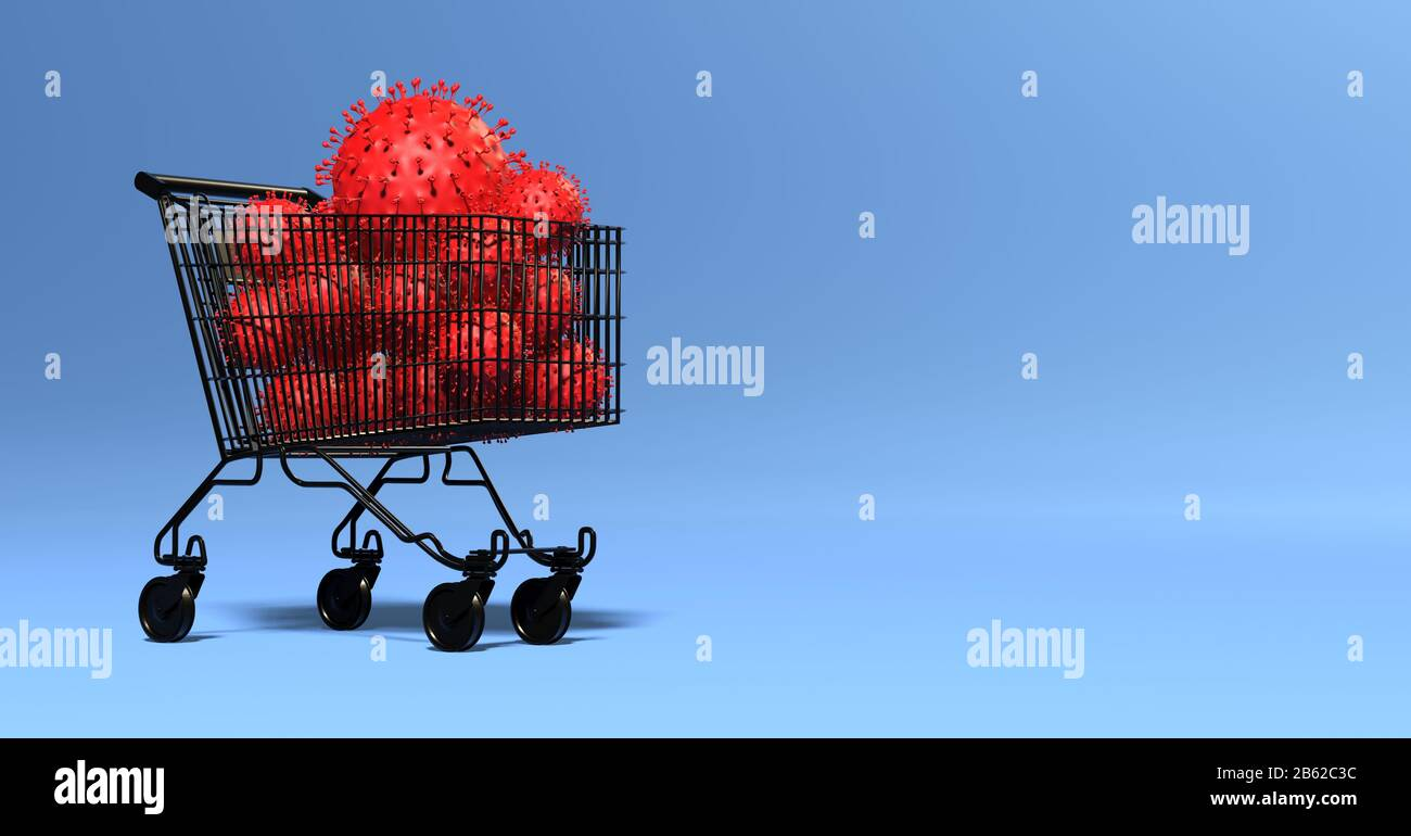 multiple viruses in a shopping cart - impact on the economy Stock Photo