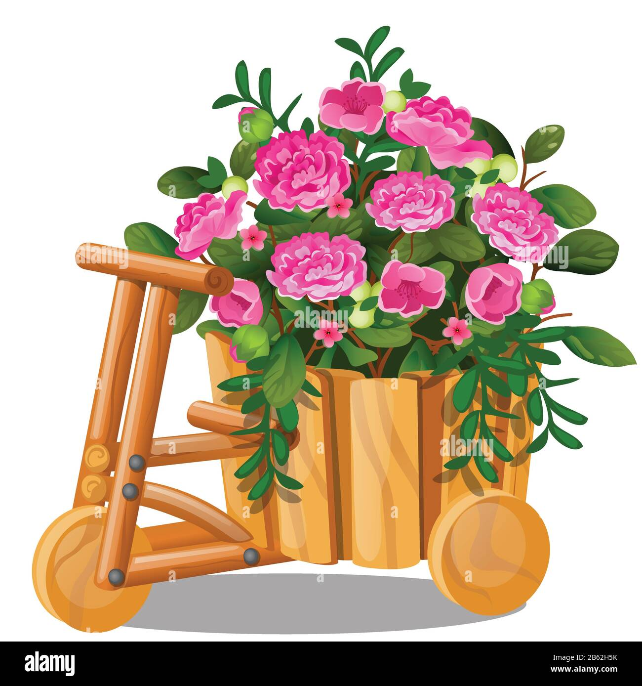 Flower Pot In The Shape Of Wooden Cart With Bucket With Pink Flowers Isolated On White Background Vector Cartoon Close Up Illustration Stock Vector Image Art Alamy