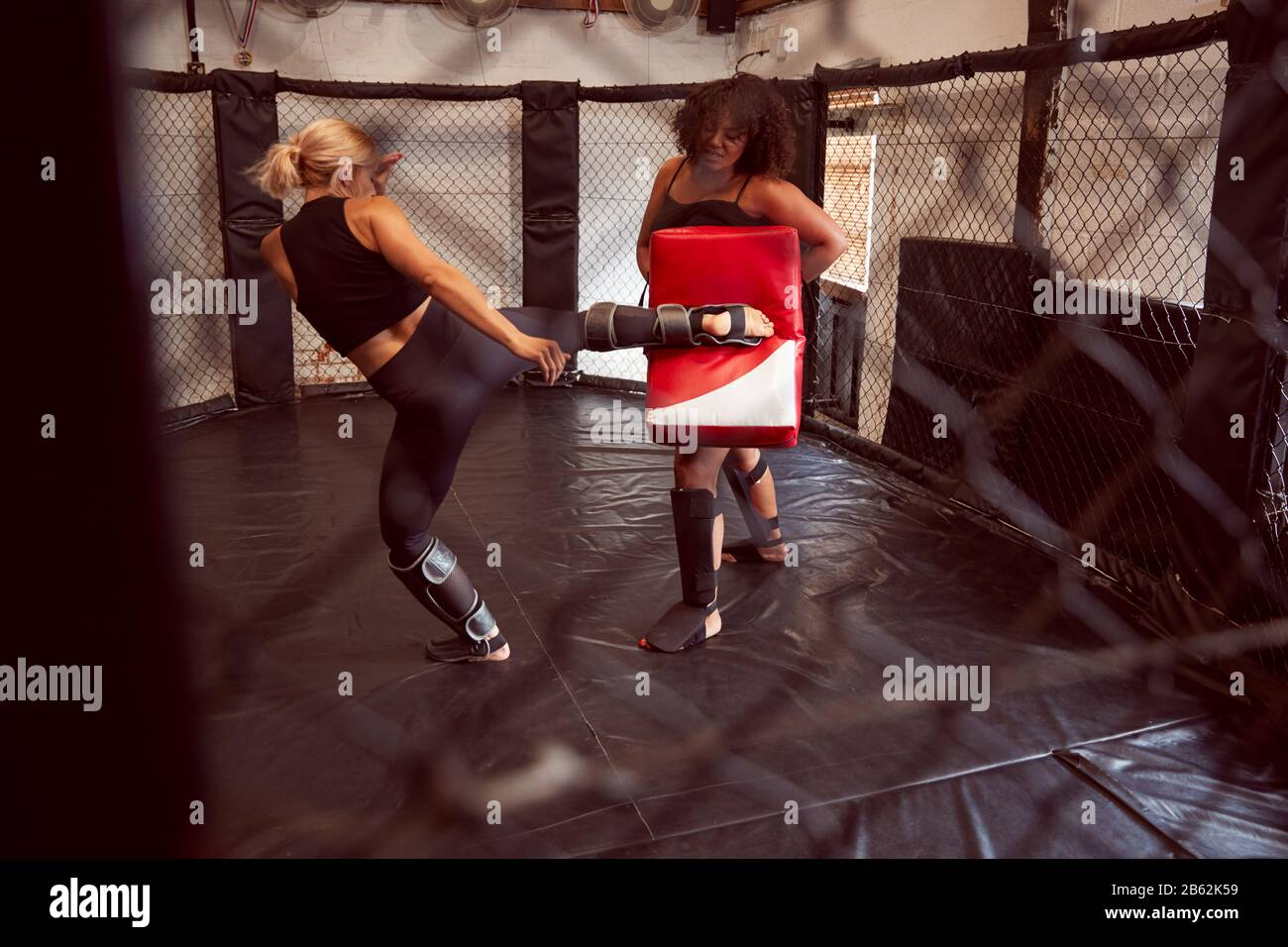 Two Female Mixed Martial Arts Fighters Kick Boxing Training In Gym Stock Photo