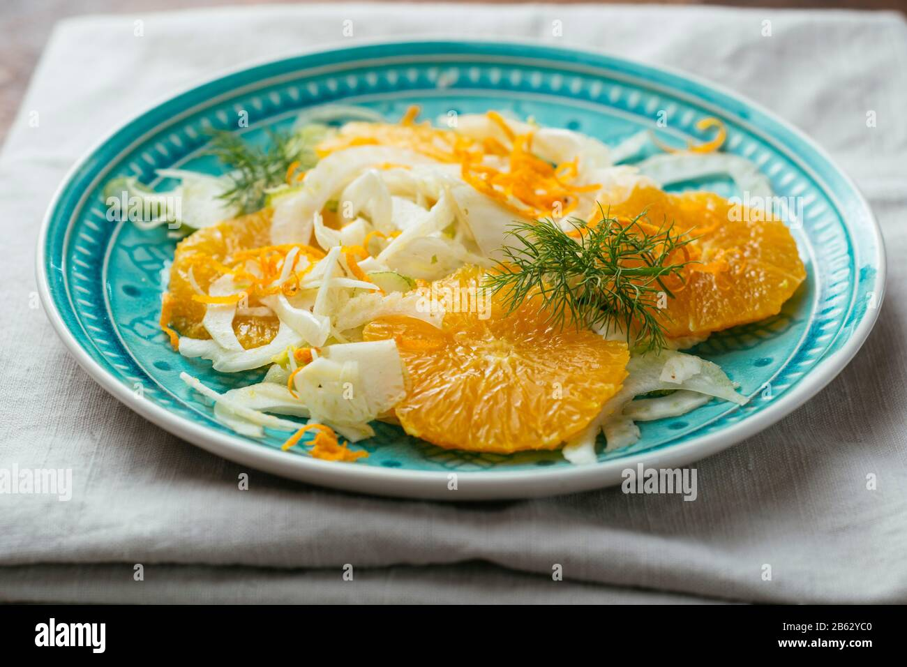 Plate with a healthy fennel and orange salad. Stock Photo