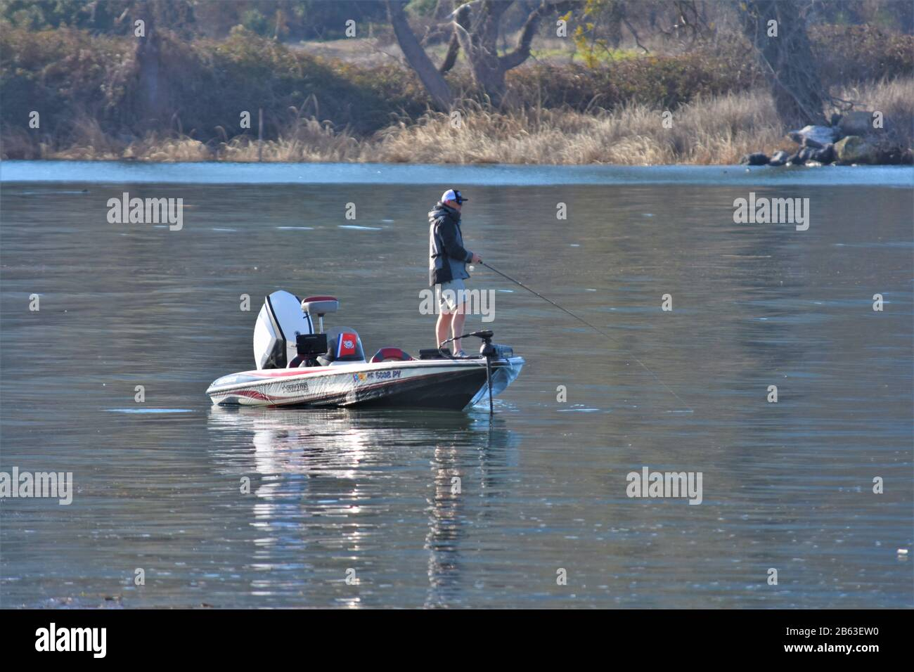 Men In Bass Boats Fishing For Contest For Money For The Most Catch On Clear Lake California As A Hobby And A Job Making Cash Stock Photo Alamy