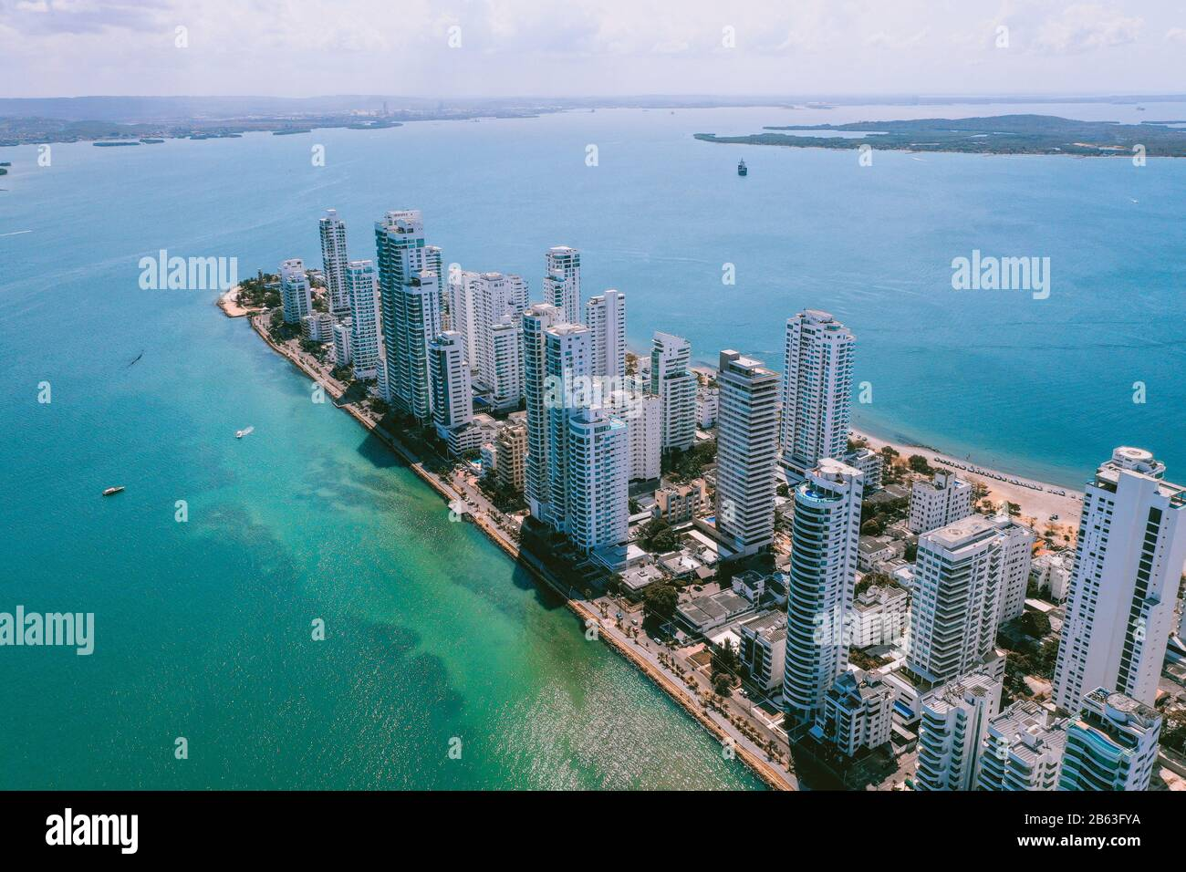 Aerial view of Cartagena Bocagrande Stock Photo