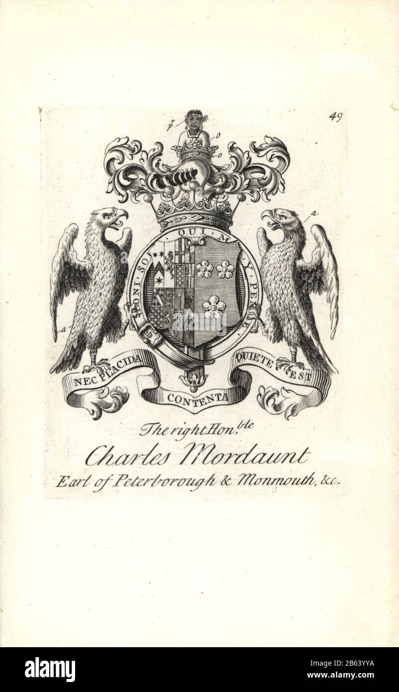 Coat of arms and crest of the right honorable Charles Mordaunt, 3rd Earl of Peterborough and 1st Earl of Monmouth, 1658-1736. Copperplate engraving by Andrew Johnston after C. Gardiner from Notitia Anglicana, Shewing their Achievements of all the English Nobility, Andrew Johnson, the Strand, London, 1724. Stock Photo