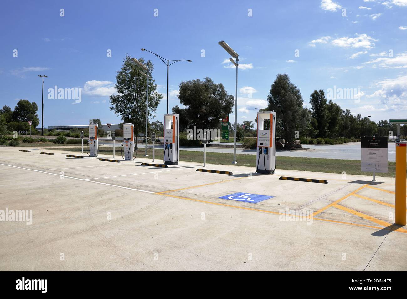 Electric car charging station powered by Solar and Battery backup, provided by RACV and CHARGEFOX, located at Barnawartha North BP service station VIC. Stock Photo