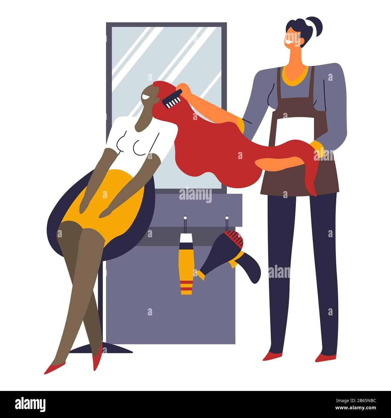 Woman In Beauty Salon Hairdresser Brushing Girl Hair Stock Vector Image Art Alamy