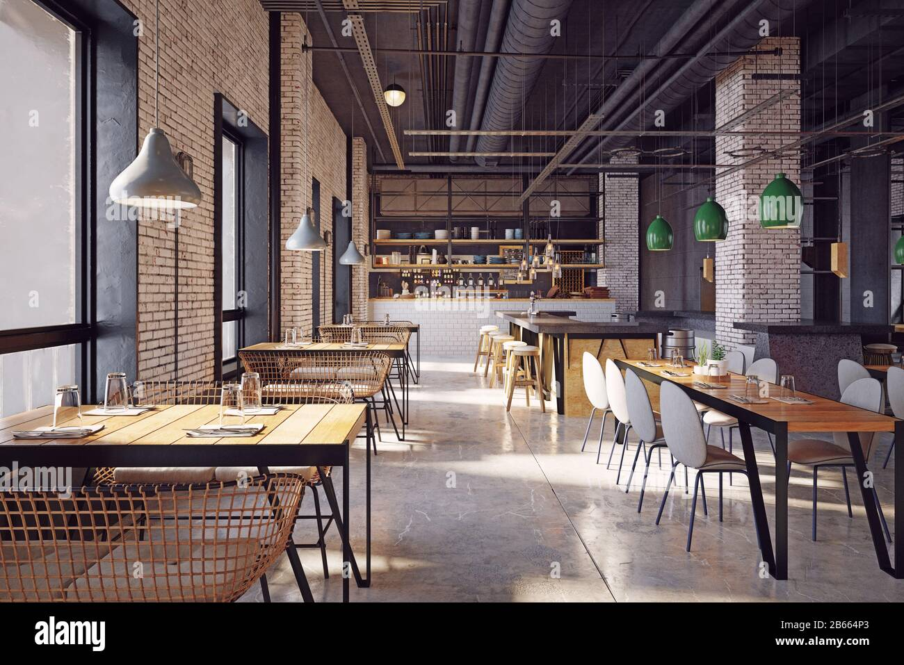 Modern Restaurant Interior Design Concept 3d Rendering Stock Photo Alamy