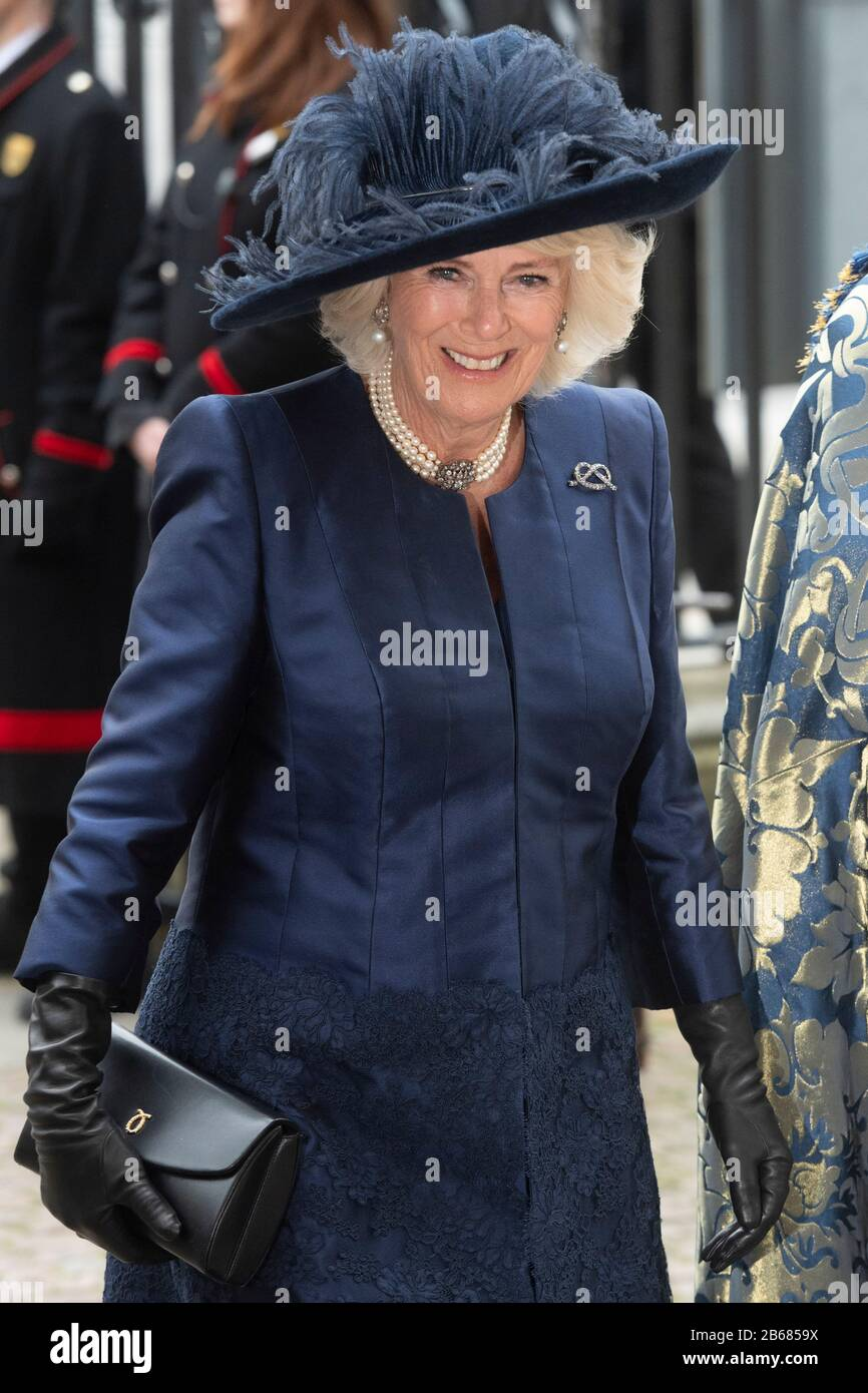 London, Britain. 9th Mar, 2020. Camilla, Duchess of Cornwall, arrives at Westminster Abbey to attend the annual Commonwealth Service at Westminster Abbey on Commonwealth Day in London, Britain, March 9, 2020. Credit: Ray Tang/Xinhua/Alamy Live News Stock Photo