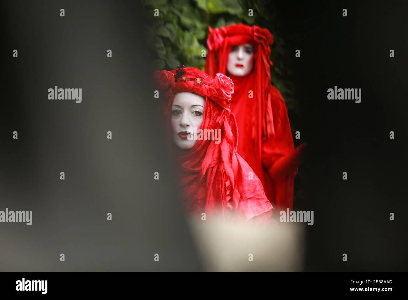 London, UK, 11 Jun 2019. Red Rebel Brigade, Extinction Rebellion - protest at Trafalgar Square. Credit: Waldemar Sikora Stock Photo