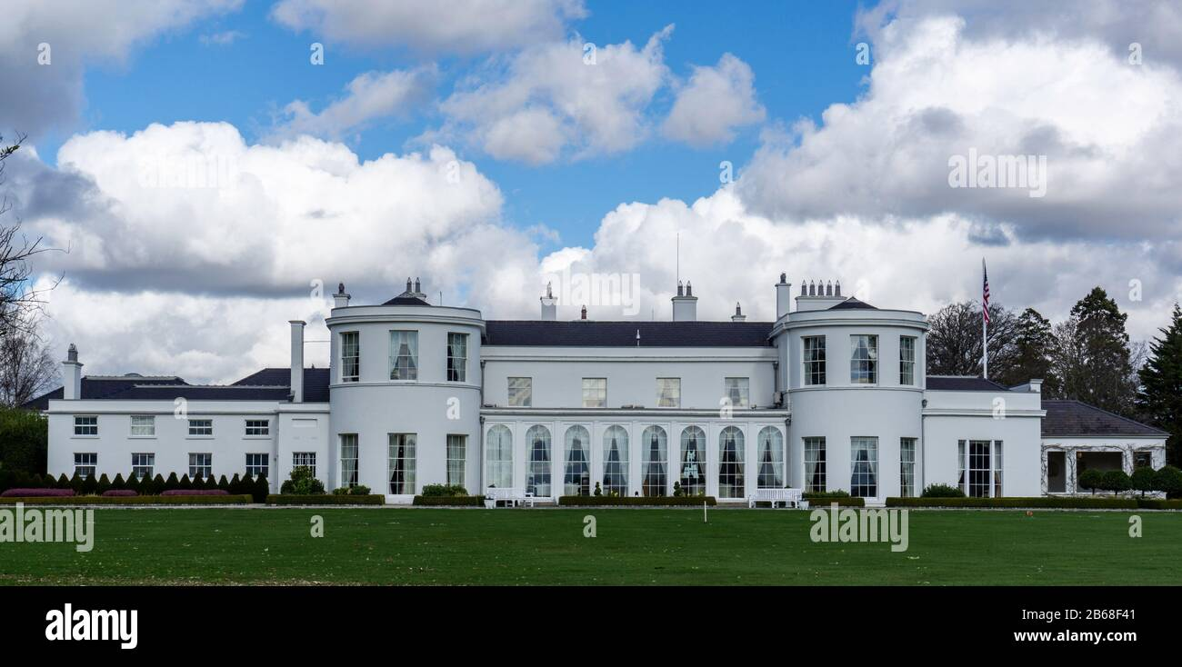 The American Ambassador's Residence in the Phoenix Park Built originally in 1776, it was the official residence of the of the British Chief Secretary Stock Photo