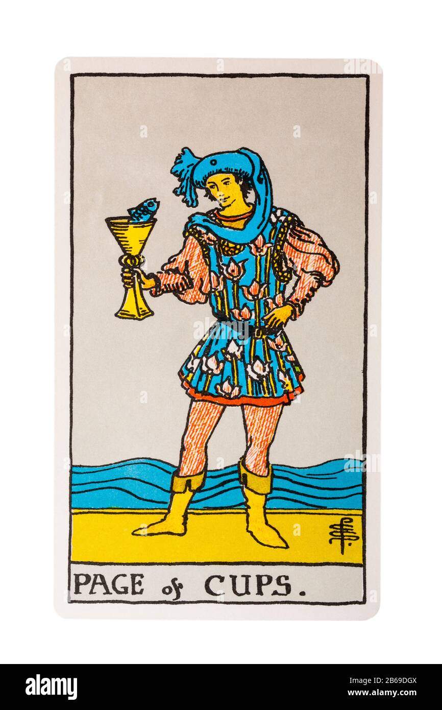 Page Of Cups Tarot Card From The Rider Tarot Cards Designed By Pamela Colman Smith Under Supervision Of Arthur Edward Waite Isolated On White Stock Photo Alamy