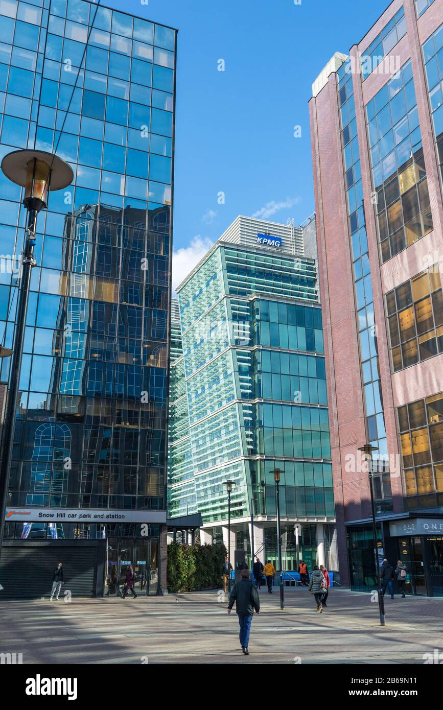 Modern office blocks by Snowhill station in the Birmingham business district off Colmore Row Stock Photo