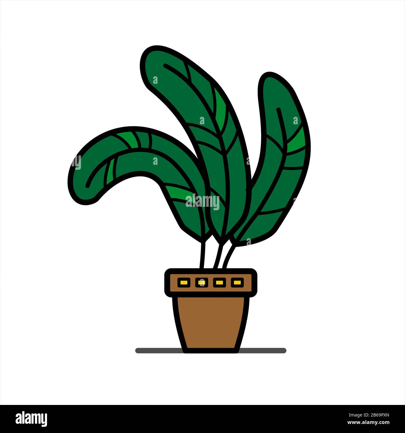 plant with wide leaves in a clay flower pot; home tropical herb; isolated on a white background Stock Vector