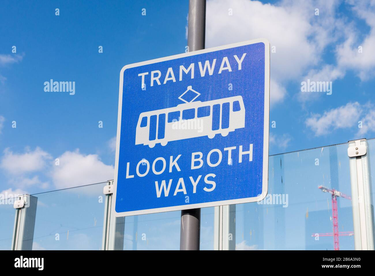 Sign warning Tramway Look Both Ways by Snowhill Tram Station in Birmingham city centre Stock Photo