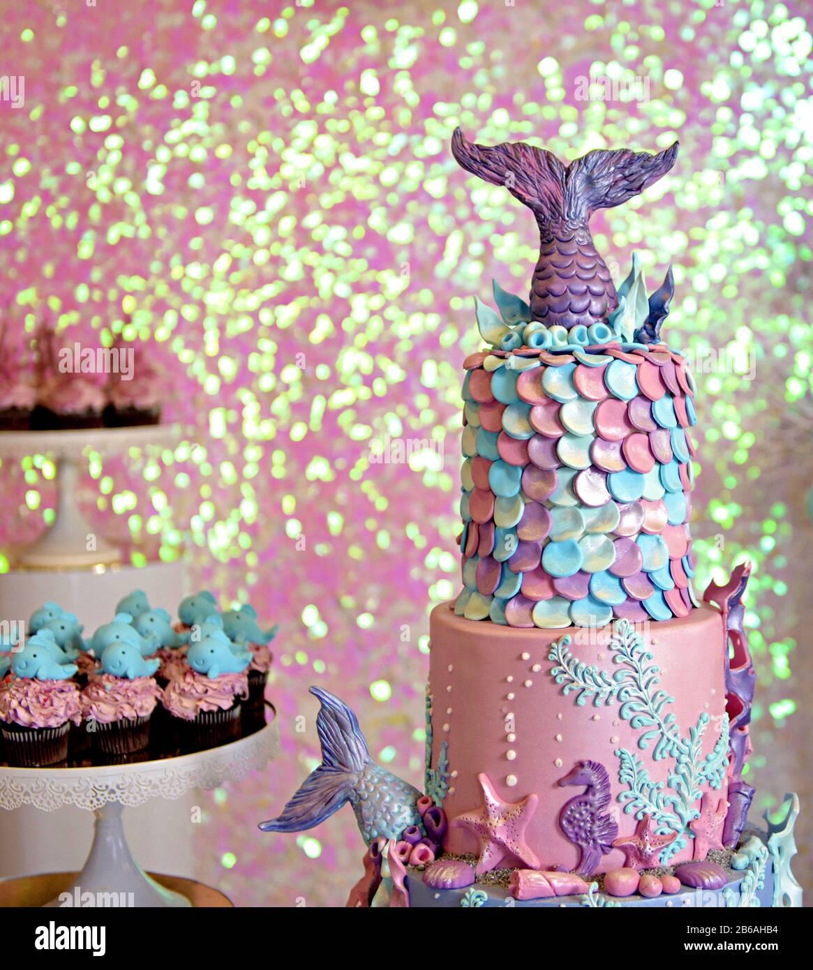 Wondrous Baby Girl Genuine Birthday Cake Sea Life Theme Image Stock Photo Birthday Cards Printable Trancafe Filternl