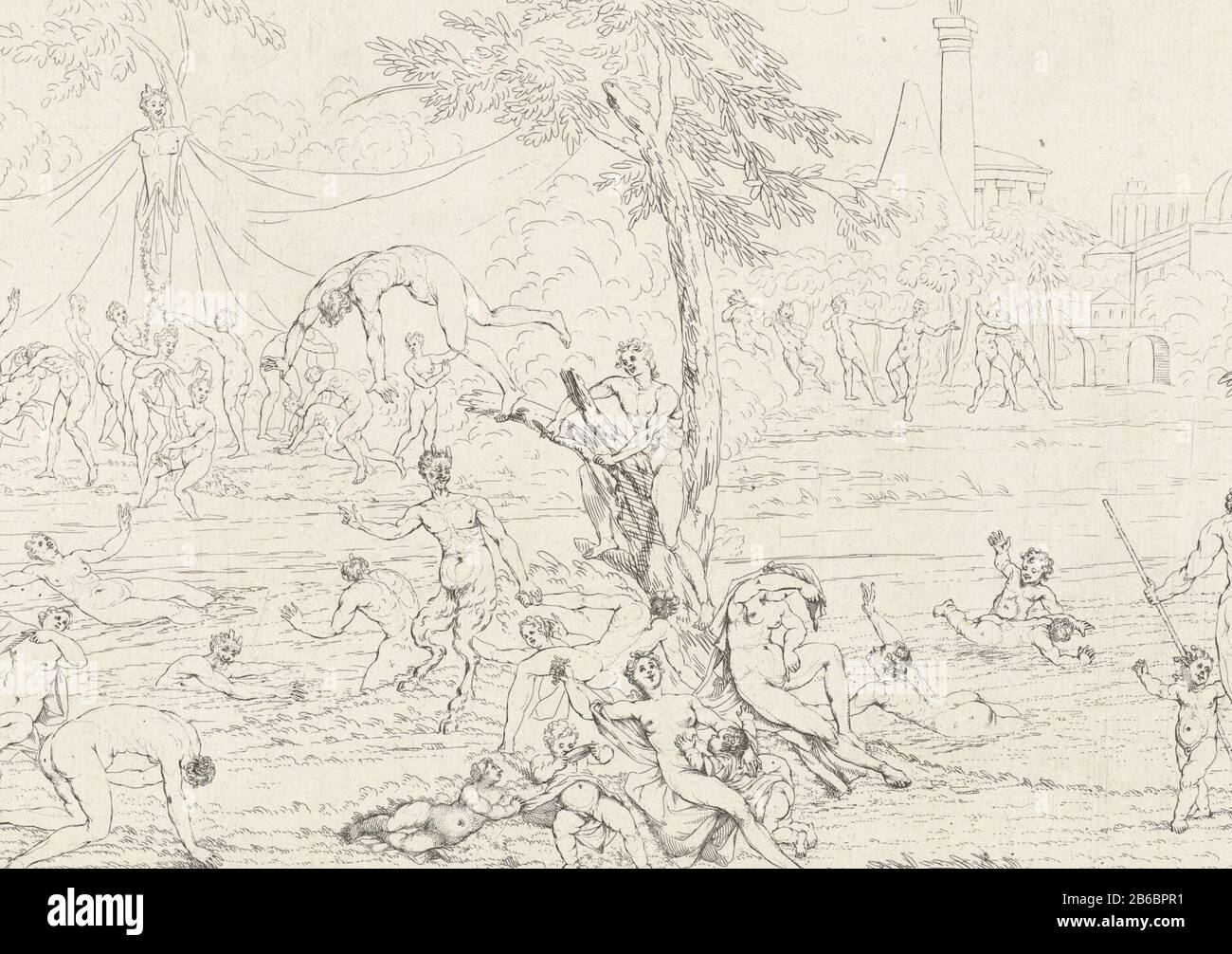 Bathing nymphs and Bacchantes Life of Bacchae (series title) Bathing nymphs and Bacchantes. In the middle of a tree, Where: from a man drops into the water. In the background left several people at a satyr picture right two pairs, dancing to the music of two satyrs. Behind a column statue. (7) Manufacture Vervaardiger: print maker: Gerard Detector To own design of: Gerard Detector Publisher: Gerard Detector Place manufacture: Amsterdam Date: 1725 Physical characteristics: etching material: paper Technique: etching dimensions: sheet: h 198 mm × W 278 mm Subject: bacchanal: Bacchus with his wine Stock Photo
