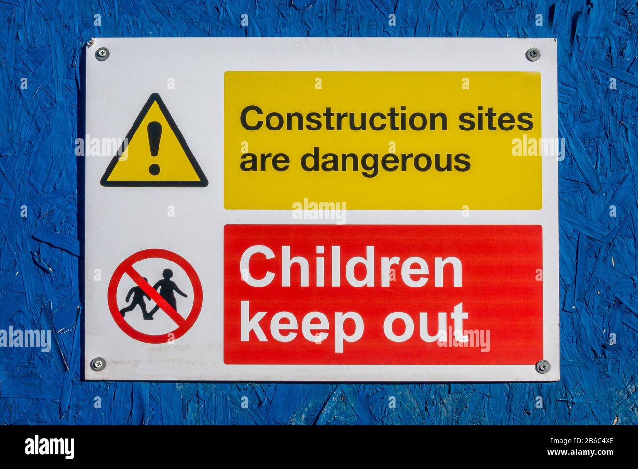Warning building sites are dangerous keep children out safety sign