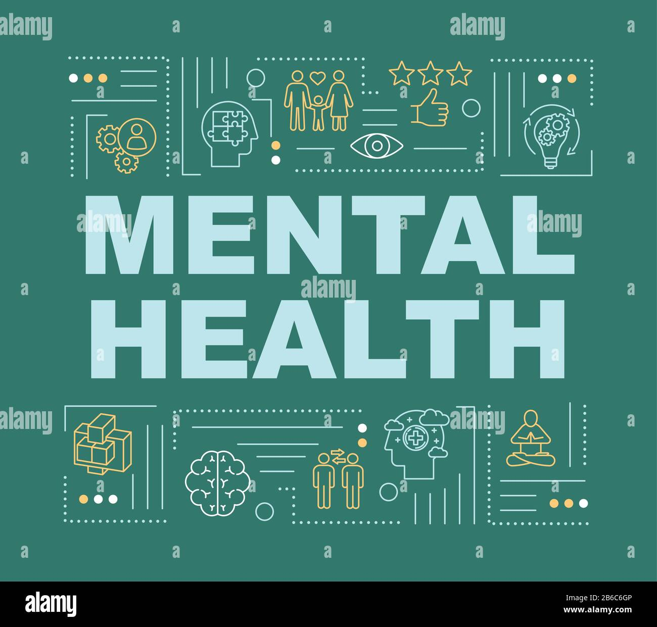 Mental Health Word Concepts Banner Happy Healthy Mind Joyful Life Infographics With Linear Icons On Dark Green Background Isolated Typography Stock Vector Image Art Alamy