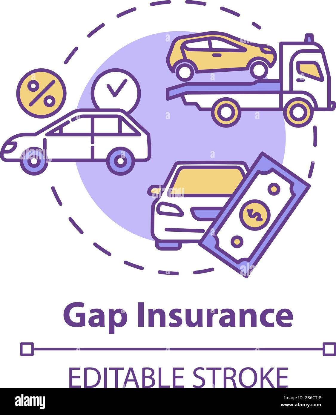 Gap insurance concept icon. Refund for car cost difference. Damage from accident. Financial aid idea thin line illustration. Vector isolated outline Stock Vector