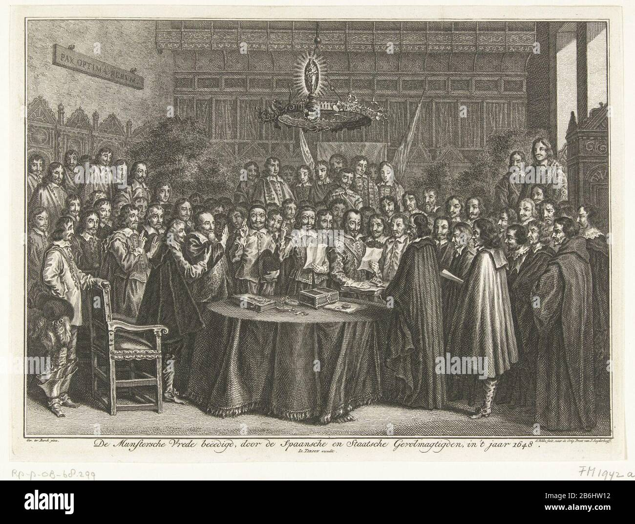 The Swearing In Of The Peace Of Westphalia On May 15 1648 In The Great Hall Of The Town Hall Friedenssaal Munster The Deputies Standing Around A Table And Lay With Raised