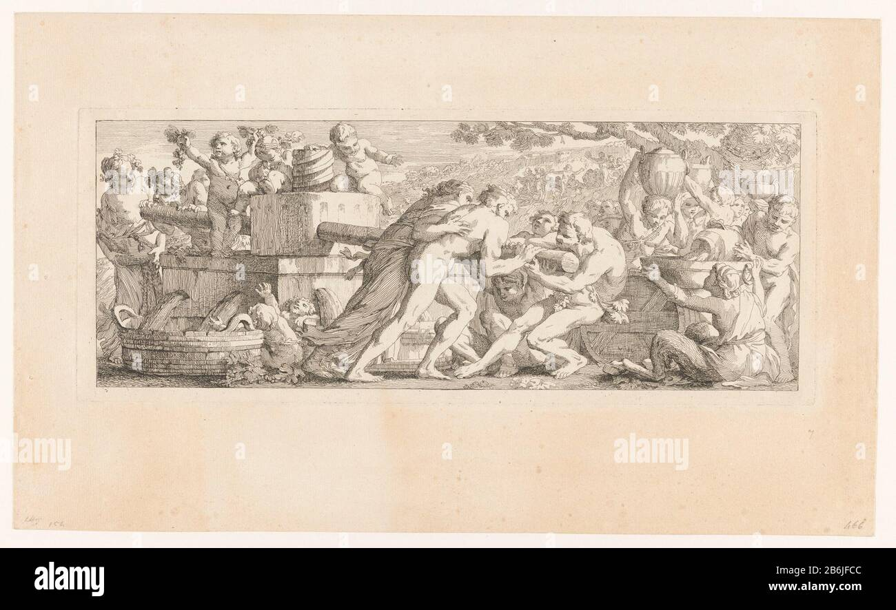 From Wijnpers The work of the harvest (titel op object) Bacchanalian scene in frieze form Bacchantes and satyrs. On the left is a wine press which is set in motion by several Bacchae. Right donate other figures of wine in a schaal. Manufacturer : printmaker Joseph-Marie Vien (I) at its design: Joseph-Marie Vien (I) Place manufacture: Rome Date: approx 1750 Material: paper Technique: etching Dimensions: plate edge: H 177 mm × W 443 mmToelichtingMaakt part of a series of five etching Bacchian scenes in the form of a frieze, described by Leblanc and 1854-1889 Baudicour 1859-1861. Subject: maenad Stock Photo