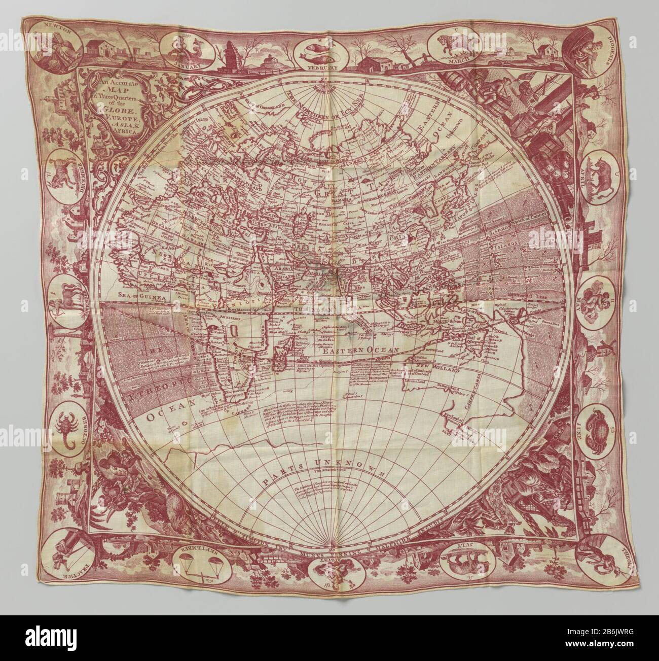 Nieuw Cloth of linen, printed with the world map and the signs of the RH-31