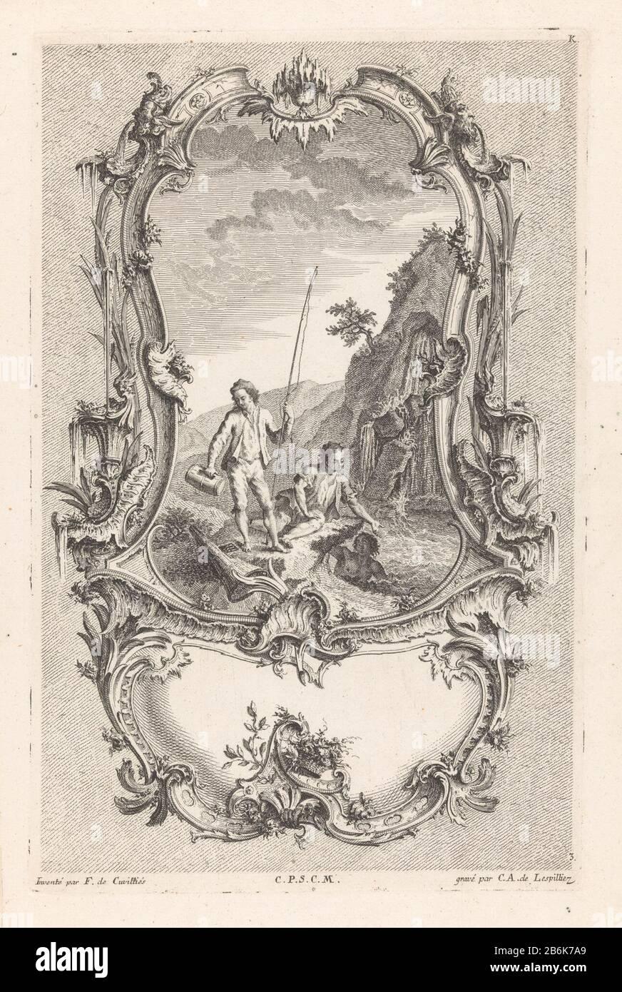 Three young men with waterfall figures in landscapes (series title) 10me Livre K Morceaux The Caprices, A Diverse Usages (series title) Een jongeman met hengel staat op een oever naast een waterval, naast hem zit een jongeman die zijn hand uitreikt naar een zwemmende jongeman in het water. Rondom de voorstelling een geornamenteerde omlijsting. Manufacturer : prentmaker: Carl Albert von Lespilliez (vermeld op object)naar ontwerp van: François de Cuvilliés (Sr.) (vermeld op object)verkoper: François de Cuvilliés (Sr.)verkoper: Poillyverlener van privilege: Keizerlijk hof (vermeld op object)Plaat Stock Photo
