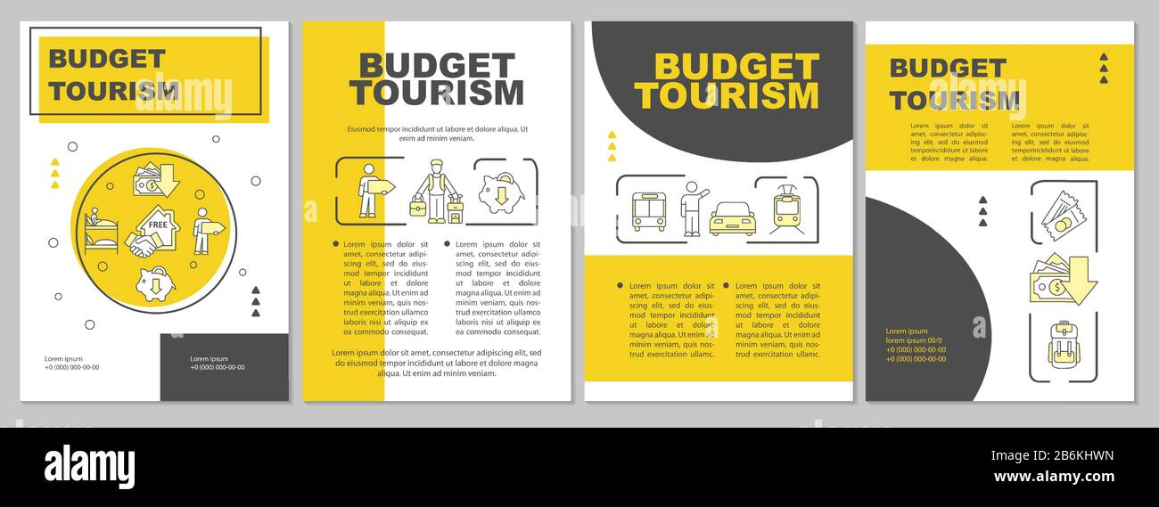 Budget travel brochure template. Cheap tours. Inexpensive voyage. Flyer, booklet, leaflet print, cover design with linear icons. Vector layouts for Stock Vector