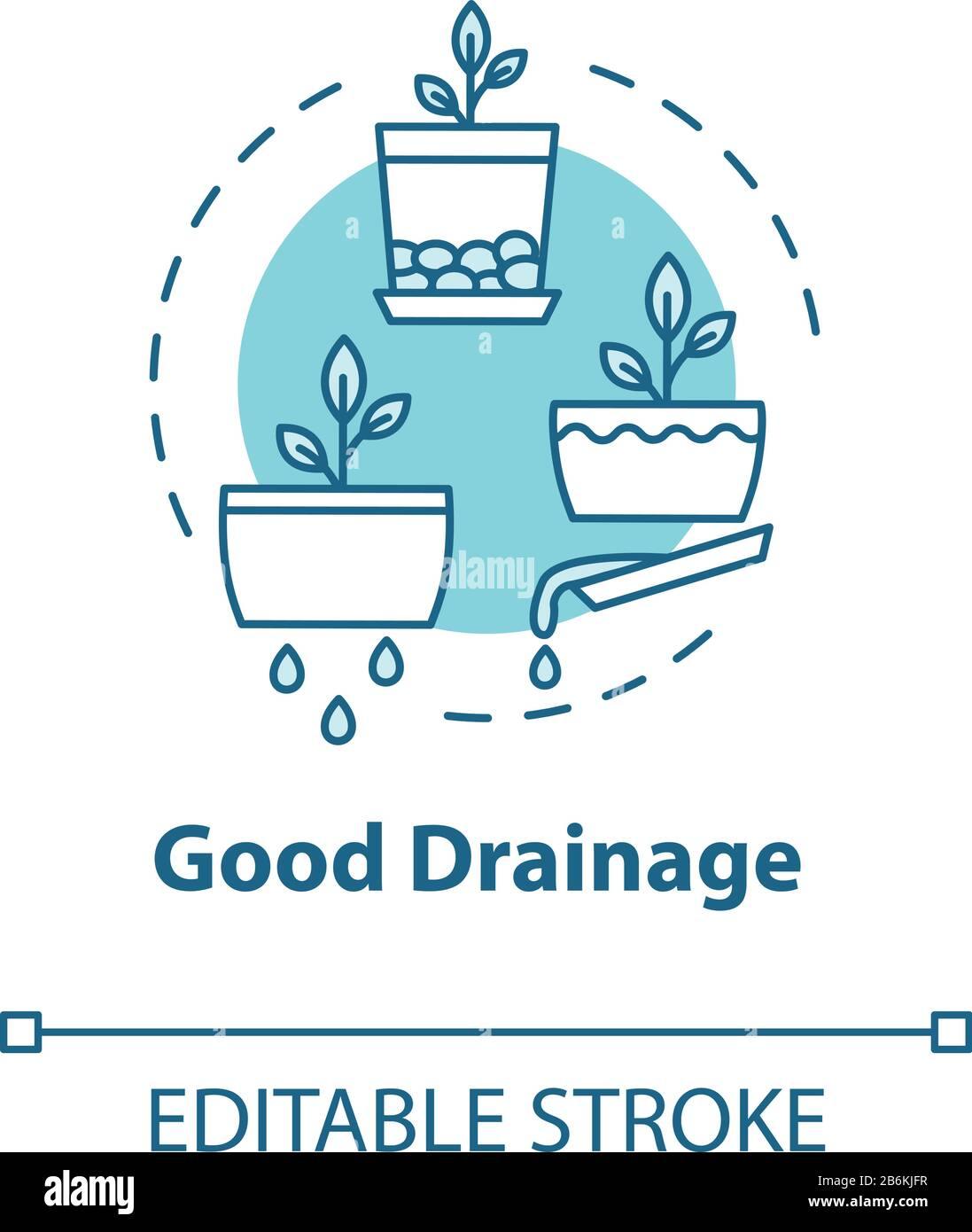Good drainage concept icon. Houseplants caring. Home gardening tip. Plant nursing, floristry hobby idea thin line illustration. Vector isolated Stock Vector