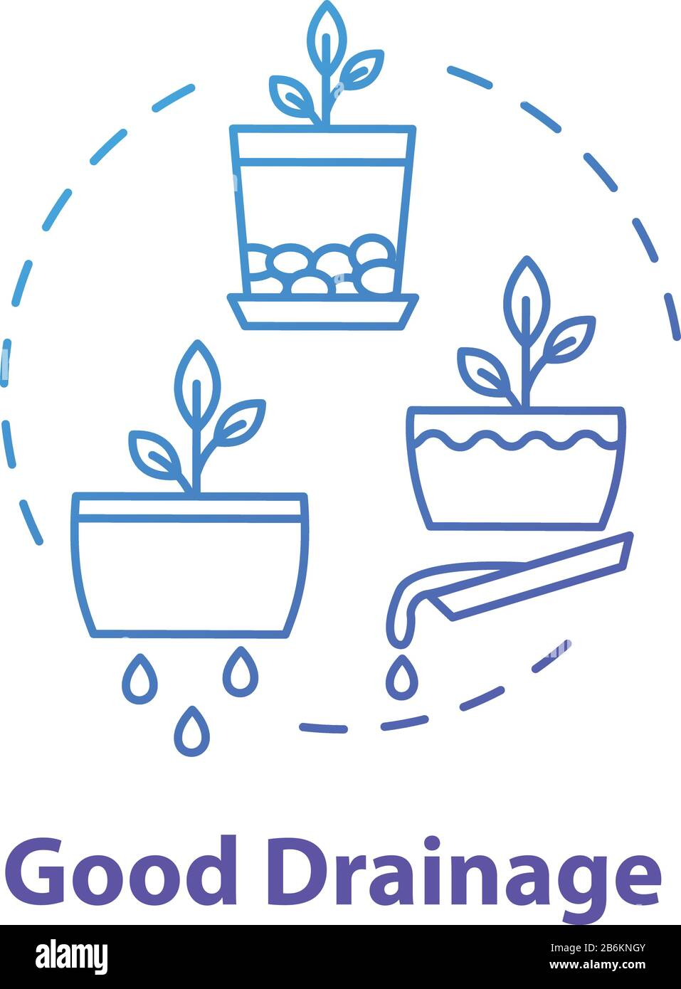 Good drainage concept icon. Home gardening tip. Houseplants caring. Plant nursing, floristry hobby idea thin line illustration. Vector isolated Stock Vector