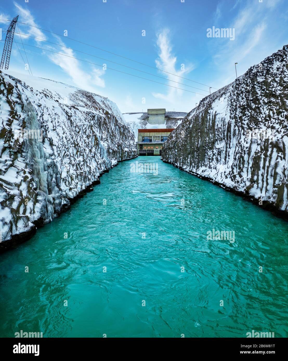 Sultartangavirkjun hydro power plant, Central Highlands, Iceland Stock Photo